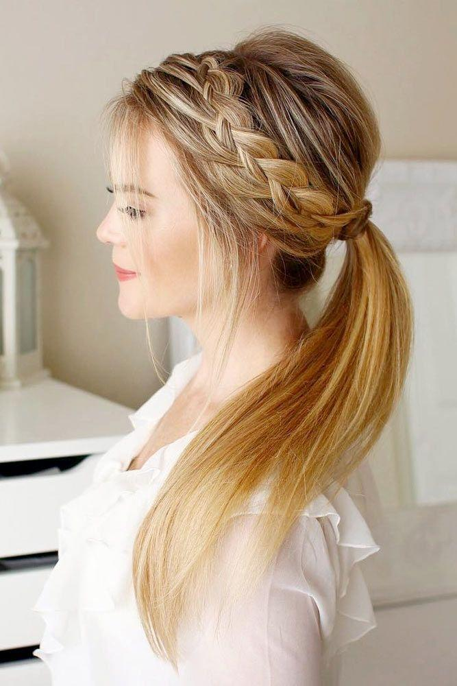 side braid with ponytail