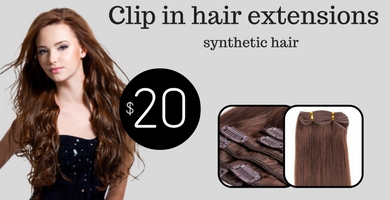Clip in hair extensions made of synthetic hair